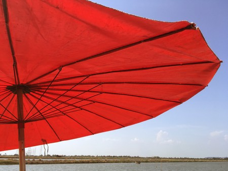Red umbrella in country Thailand