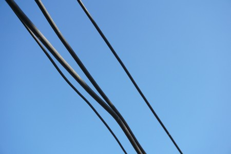 wire cable on blue sky