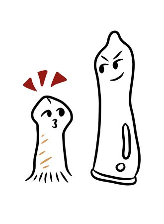 cartoon large condom size and small sexual sign Stock Photo