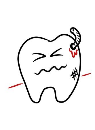 Dental caries cartoon - kid drawing