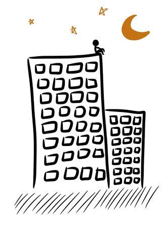 alone on building cartoon