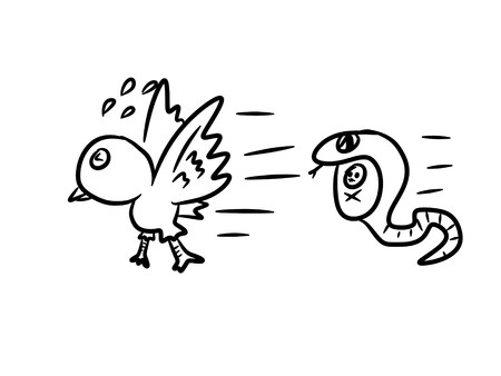 The bird running away from the snake - kid drawing