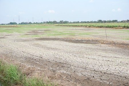 dry crack soil in agriculture land at Thailand 版權商用圖片