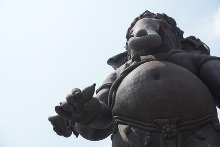 large ganesha statue in public temple at thailand