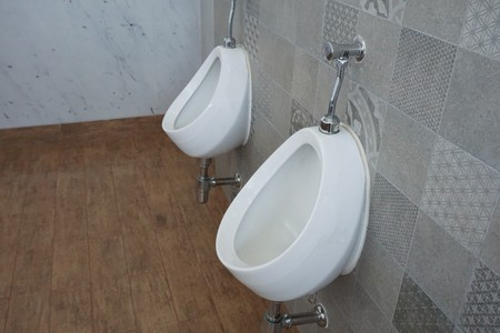 close up urinals in toilet