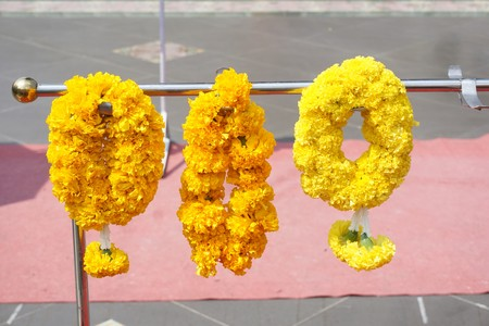 yellow marigold flower garland