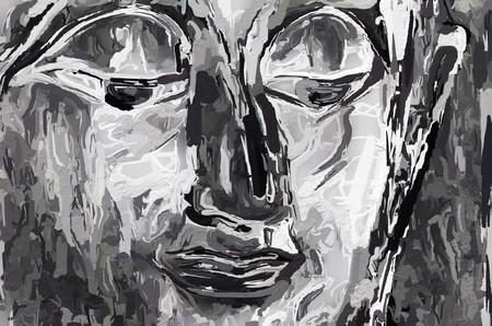 art black and white buddha statue background Banco de Imagens - 122402179