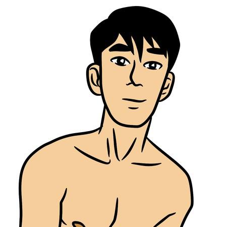 Cartoon sexy man on white background