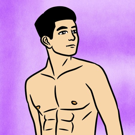 Cartoon sexy man on color background Stock Photo