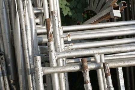iron scaffolding on the ground
