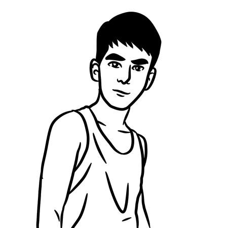 sexy man cartoon - kid drawing Stock Photo