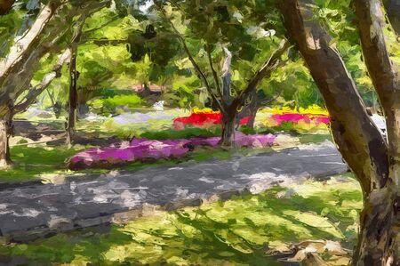 art color beautiful garden pattern background 스톡 콘텐츠