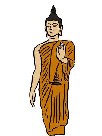 cartoon buddha statue on white background Standard-Bild - 127870361