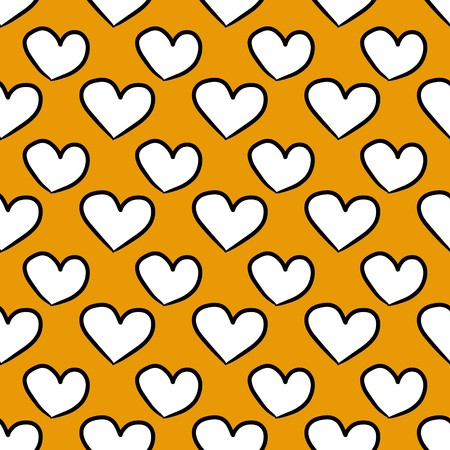 seamless pattern background of white heart on yellow color