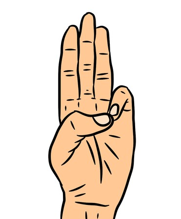 Human cartoon hand showing three fingers or the number 3