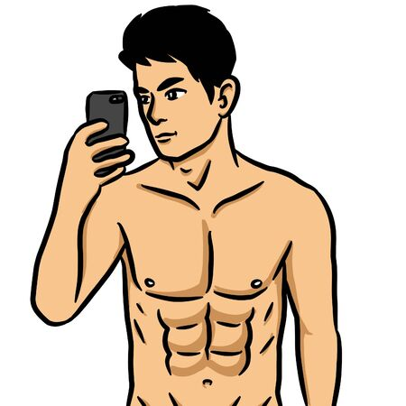 illustration cartoon of sexy man on white background Stock Illustration - 127100752