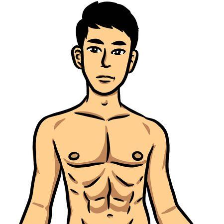 illustration cartoon of sexy man on white background