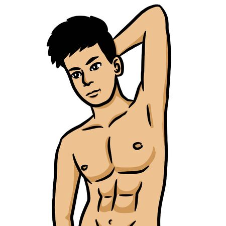 cartoon sexy man on white background Stock Photo - 129115404