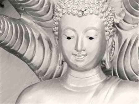Art drawing black and white of buddha statue