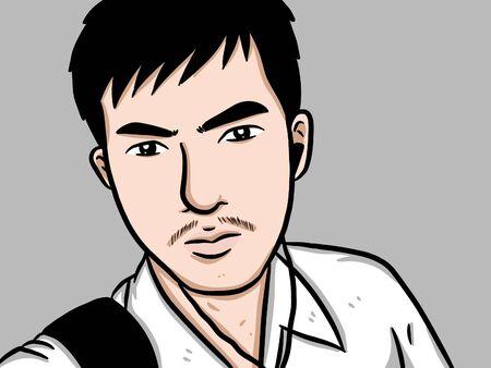 Cartoon cute man on white background Zdjęcie Seryjne