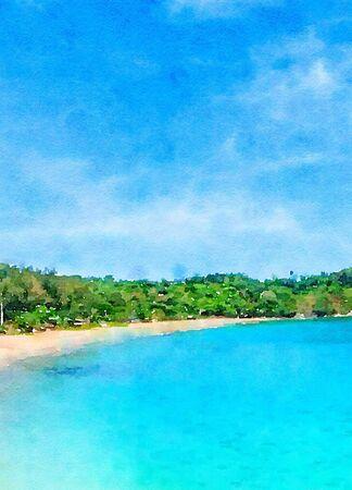 Art watercolor of sand beach Imagens