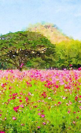 Art watercolor of flower garden