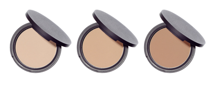 Compact pressed face shine control round powder isolated on white background. Set of three makeup cosmetics powders. Nude beige brown color skin blends.
