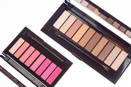 Collection of two cosmetics palettes for eye and lip makeup isolated. Vivid colorful tints, hot colors for face make-up. Lipsticks and eyeshadows kit. Make up means composition. Top view.