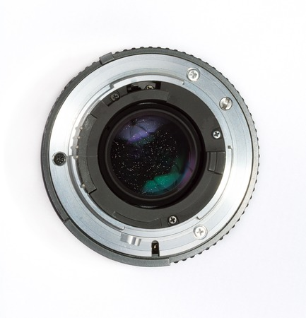 Camera lens cementation separation. Schneideritis defect. Photography old vintage lenses issues. Isolated on white background. Stok Fotoğraf
