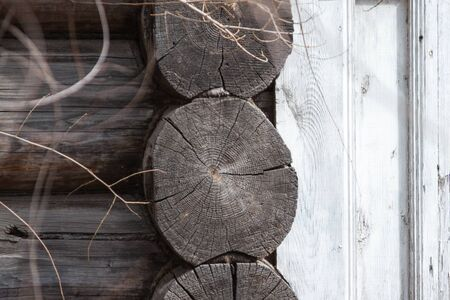 gray wall of an old house made of round wooden beam