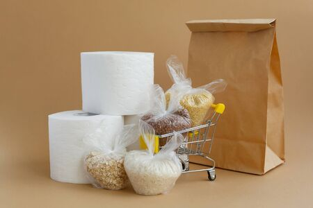 Paper bag, toilet paper and various cereals in small plastic bags in a grocery cart on a brown background. Rice and oatmeal, buckwheat and millet Banque d'images