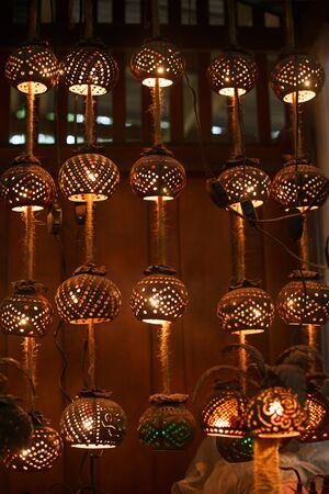 Thai garland, lamp and light made from coconut shell. Home decor