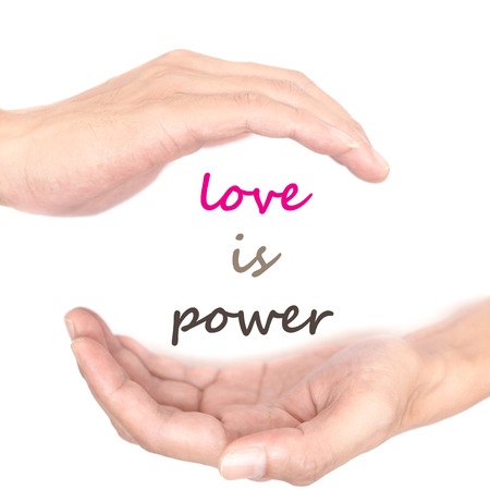supernatural power: Hands concept for money is power. Quote is between right and left hand Stock Photo