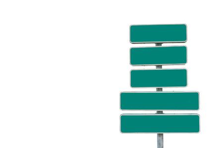 signboards: cinco letreros de direcci�n en verde y blanco. y el espacio vac�o para el texto Foto de archivo
