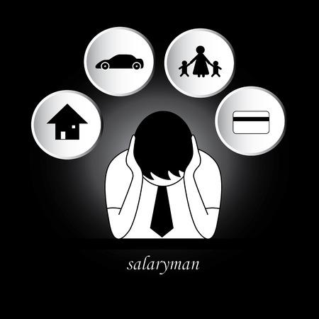 gastos: Salaryman preocupaci�n sobre los gastos de manutenci�n, casa, coche, familia, tarjeta de cr�dito. puede cambiar el color de fondo