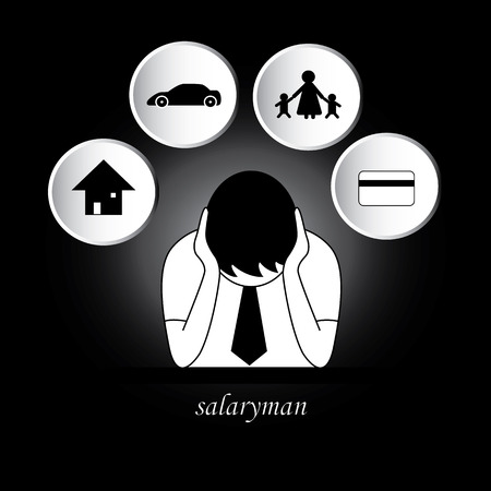 Salaryman worry about living expenses, house, car, family, credit card. can change background color