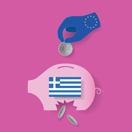 EU try to help greece crisis but useless Ilustração