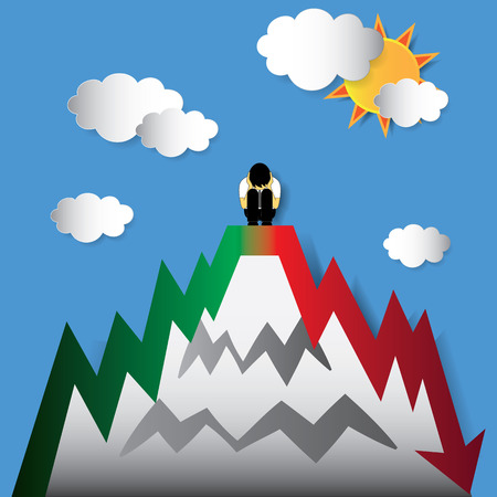 suffer: a man suffer on the peak of stock market index