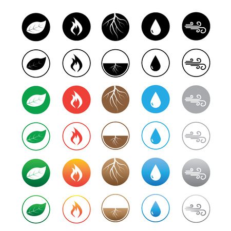 Six sets of element icons. Earth, water, wind, fire and wood