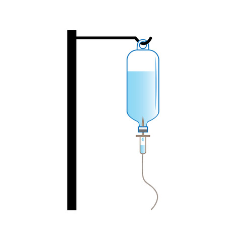 saline solution: Saline solution bottle hanging on hanger pole with needle set Illustration