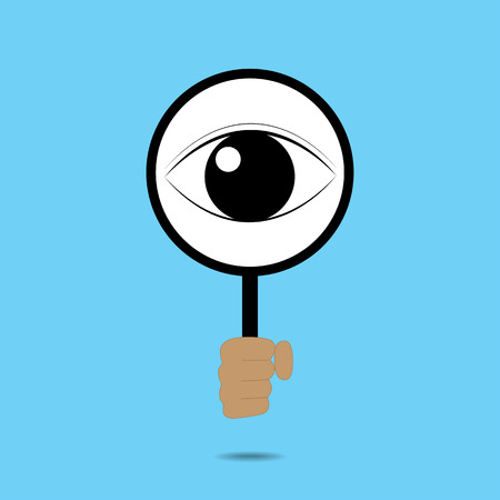 big behind: Isolated magnifying glass and big eye behind
