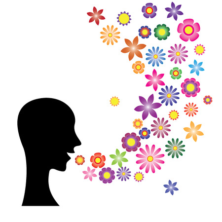 polite: Speaking with flower language. beautiful and polite