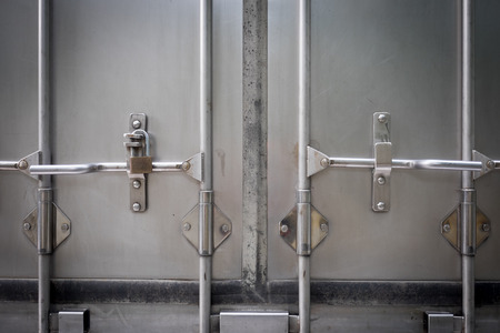 Truck's back door locked with a key Archivio Fotografico