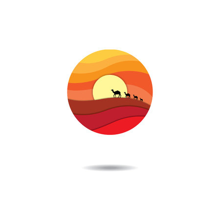 desert: Isolated abstract desert logo in white background. showing sand dune, sun and camels