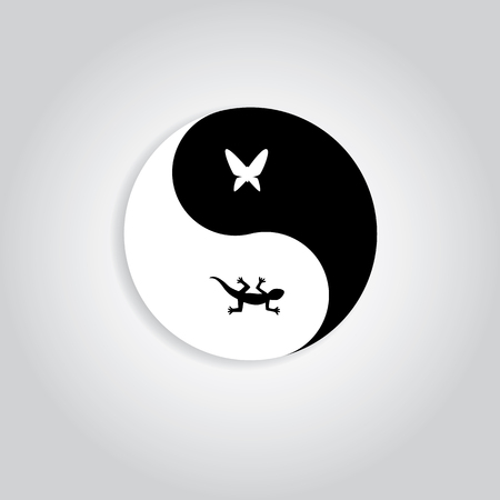 cameleon: Hunter and prey yinyang logo. showing gecko and butterfly in yinyang symbol represent to nature life cycle Illustration