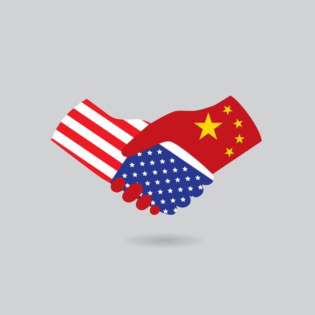 peace treaty: World peace icon in light gray background, USA handshake with China Illustration