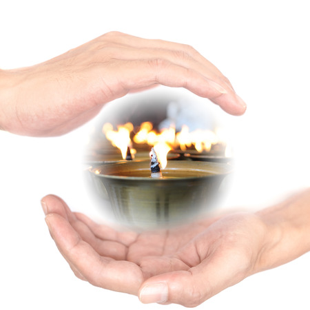 supernatural power: Hands concept for power of meditation. Meditation makes wisdom. wisdom is power. Stock Photo