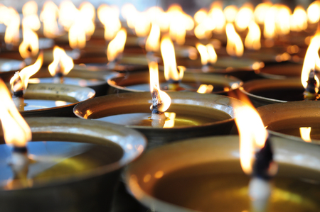 consciousness: Spiritual oil lamps in temple. for meditation, consciousness.