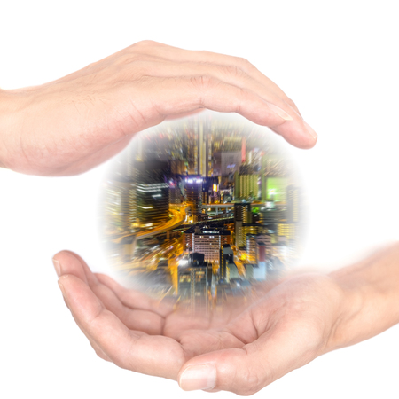 supernatural power: Hands concept for our city is in your hands. Quote is between right and left hand