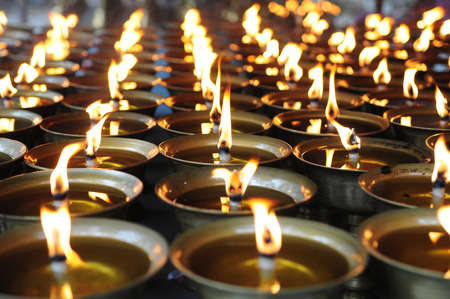 Spiritual oil lamps in temple. for meditation, consciousness.